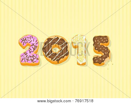 This image is a donut 2015 text vector illustration