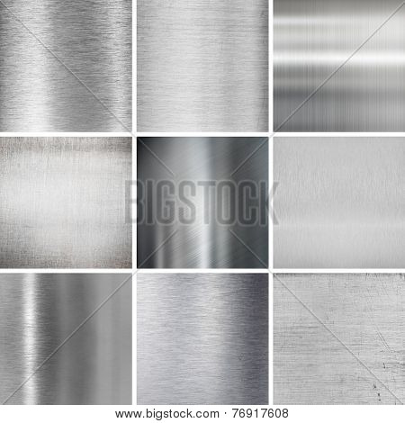 metal plates textured backgrounds set