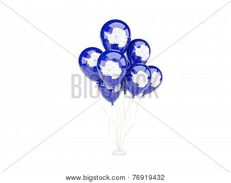 Flying Balloons With Flag Of Antarctica