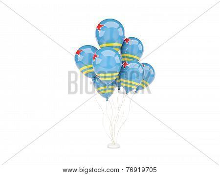 Flying Balloons With Flag Of Aruba