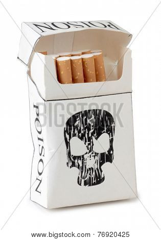 Filter cigarettes box on white background