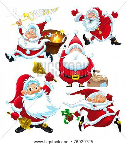 Set of funny Santa Claus. Vector isolated characters.