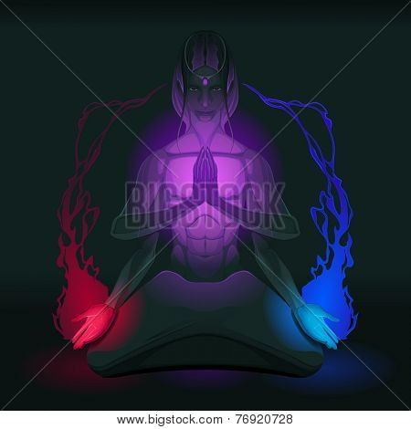 Meditation on union of the opposite inside. Vector illustration
