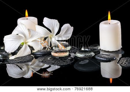 Beautiful Spa Still Life Of Delicate White Hibiscus, Zen Stones With Drops, Ice, Candles On Reflecti