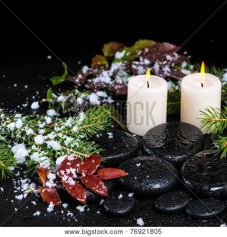 Winter Spa Concept Of Zen Basalt Stones, Evergreen Branches, Red Leaves With Drops, Snow And Candles