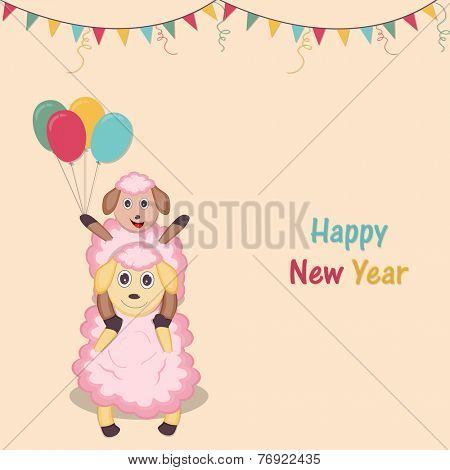 Happy New Year celebration poster with baby and mother sheep holding colorful balloons on ribbon decorated background.
