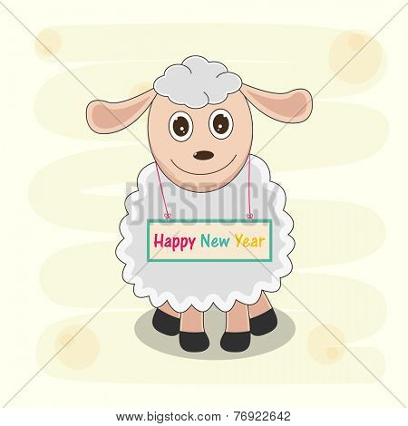 Kiddish greeting card with cartoon of sheep holding Happy New Year board in his neck on stylish background.