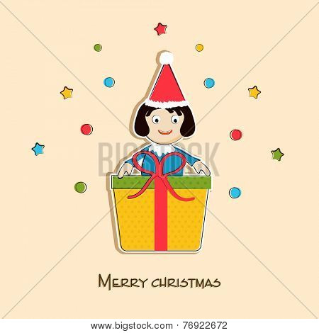 Merry Christmas celebration concept with cute little girl in Santa cap holding gift box on stars decorated background.