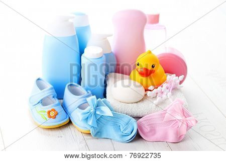 baby accessories on white wood - children