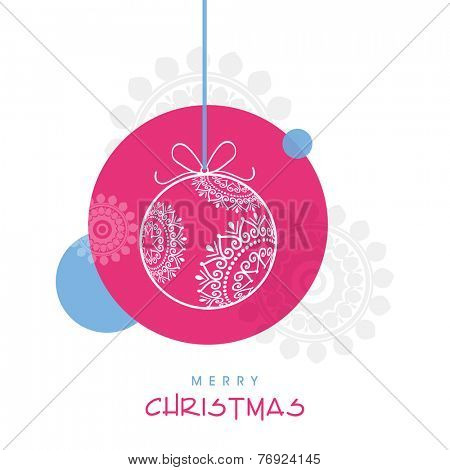 Merry Christmas celebration poster design with floral decorated X-mas ball hanging on creative background.