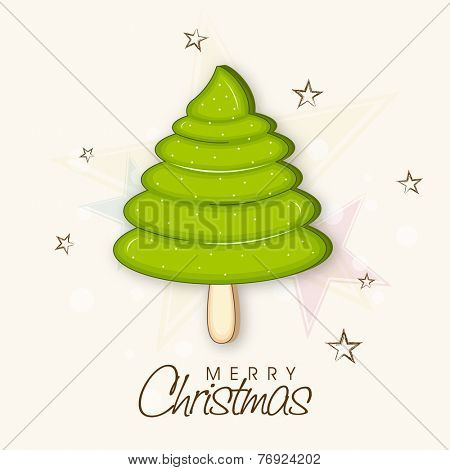Merry Christmas celebration poster with stylish X-mas tree and wishing text on star decorated background.