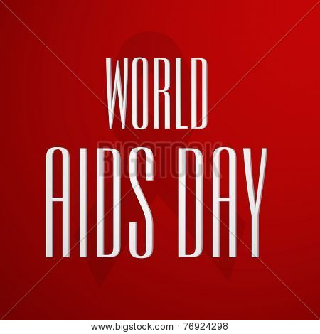 Poster or banner for World Aids Day with stylish text and awareness ribbon on red background.