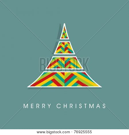 Stylish creative design of X-mas tree for Merry Christmas celebration on sea green background.