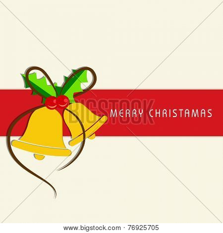 Greeting card or invitation card for Merry Christmas celebration with jingle bells and mistletoe on beige background.