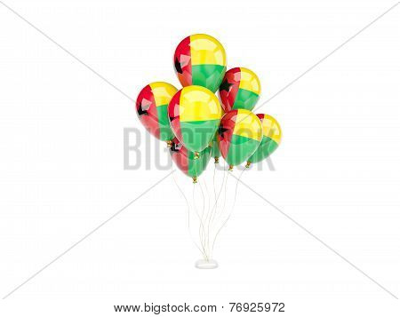 Flying Balloons With Flag Of Guinea Bissau