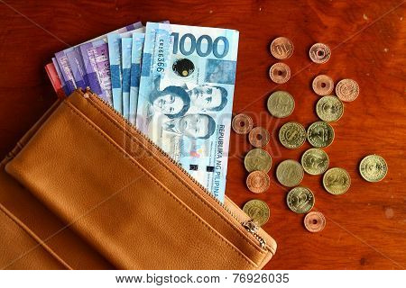 Cash money in a leather wallet and coins