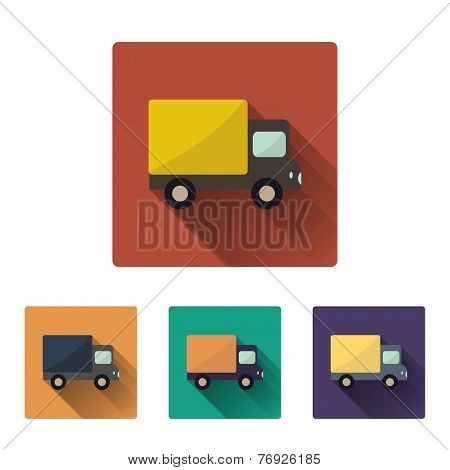 Flat long shadow icon of truck