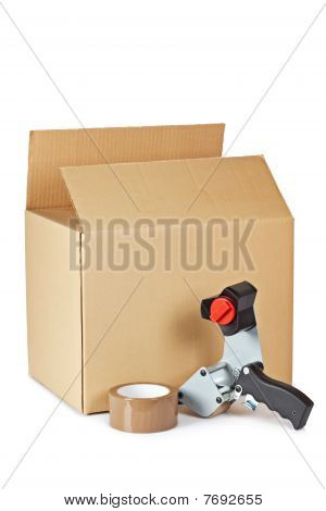 Packaging Tape Dispenser And Shipping Box