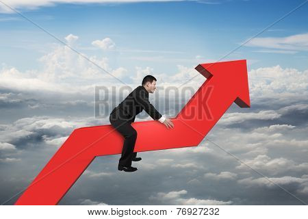 Businessman Riding 3D Red Trend Line In The Sky