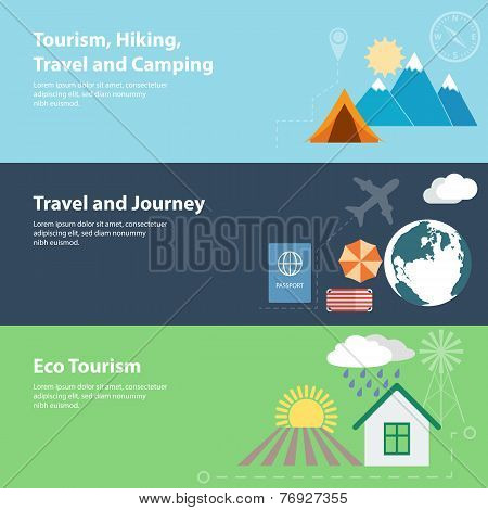 Flat vector banners with tourism, vacation, camping concepts.