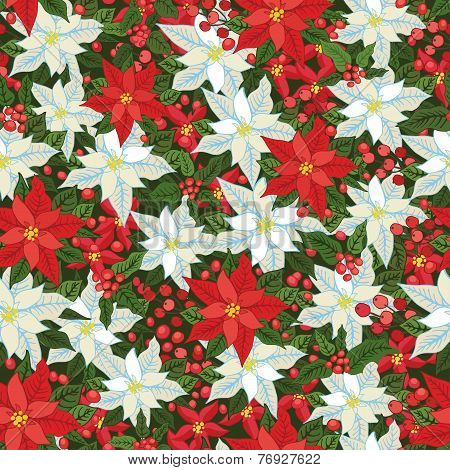 White and Red poinsettia.Christmas seamless pattern