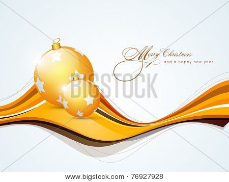 Beautiful golden X-mas ball with stylish text for Merry Christmas and Happy New Year celebrations.