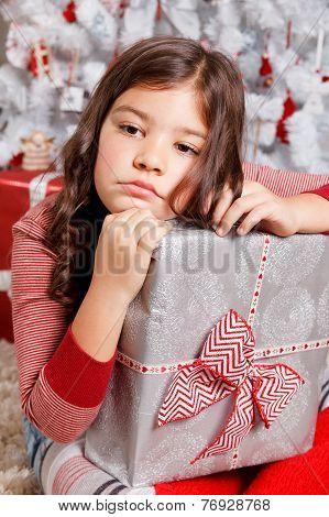 Sad Little Girl At Christmas