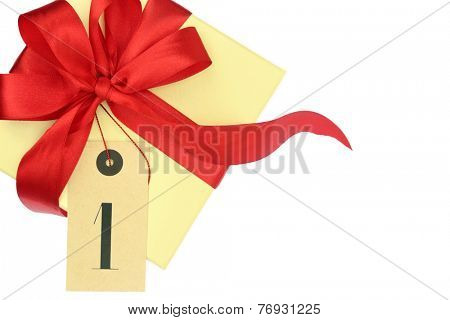 Gift box with number one and ribbon isolated on white