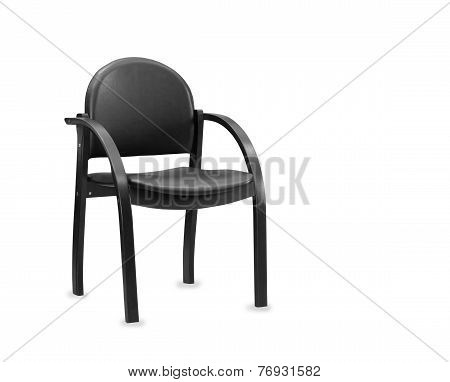 The Wooden Office Chair From Black Leather. Isolated
