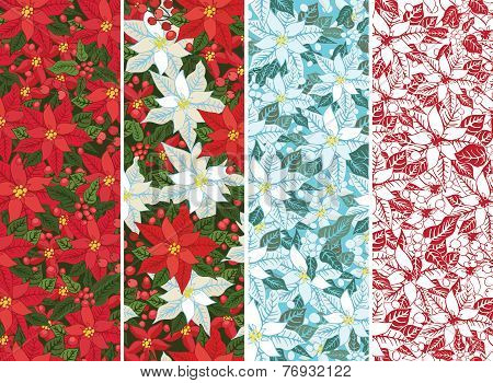 Poinsettia set.Christmas seamless border,banner