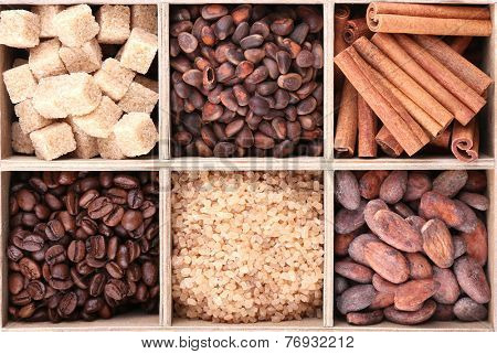 Wooden box with set of coffee and cocoa beans, sugar cubes, dark chocolate, cinnamon and anise, isolated on white