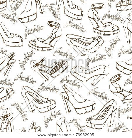 Fashion women shoes seamless pattern.Outline