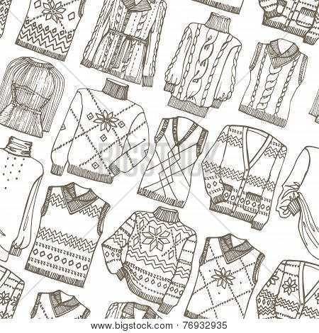 Fashion Sketchy.Outline knitted clothing seamless pattern