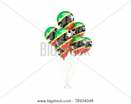 Flying Balloons With Flag Of Saint Kitts And Nevis