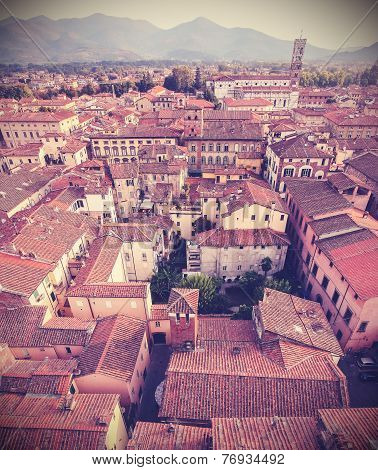 Retro Vintage Faded Styled Aerial Picture Of Lucca.