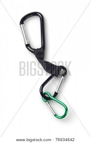 Three Carabiners On White Background