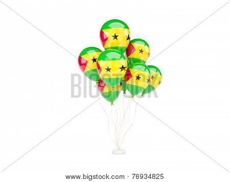 Flying Balloons With Flag Of Sao Tome And Principe