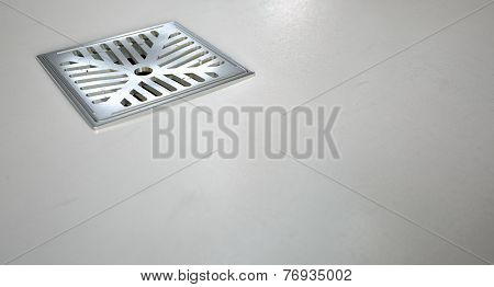 Chrome Shower Floor Drain Closeup