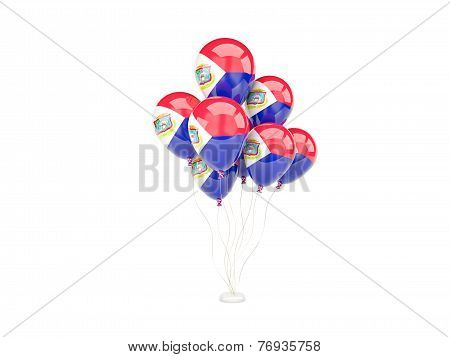 Flying Balloons With Flag Of Sint Maarten