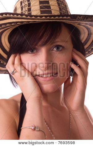 young women wearing a hat.