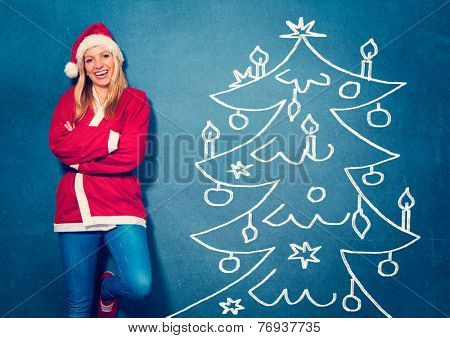 laughing Santagirl standing in front of a chalkboard - Santagirl