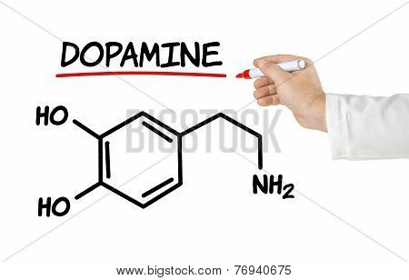 Chemical formula of dopamine on a white background