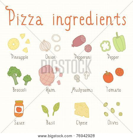 Hand drawn vector ingredients.