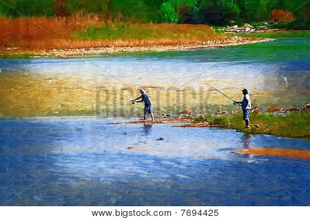 Stock Image Of River And Fishermen