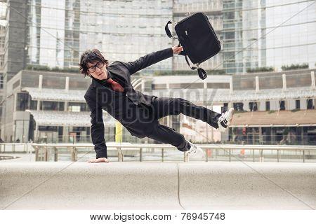Business man running at work