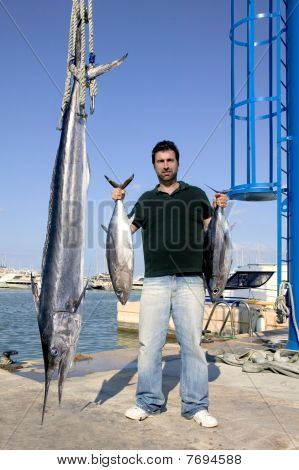 Angler Fish Catch Albacore Tuna And Spearfish Mediterranean