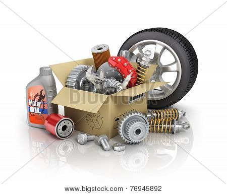 Auto Parts In The Cardbox. Automotive Basket Shop. Auto Parts Store.