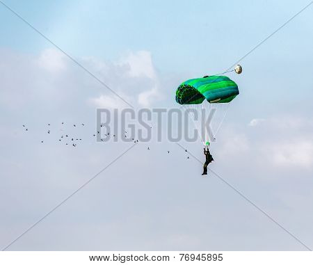 Flying In The Sky Parachutist