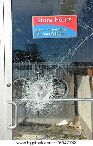 FERGUSON, MO/USA - NOVEMBER 25, 2014: Business door in Ferguson in the aftermath of riots after announcement of Grand Jury decision