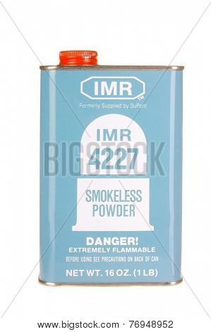 Hayward, CA - November 23, 2014: Metal container of IMR 4227 smokeless  gunpowder